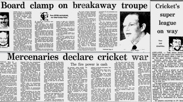 Composite: News stories in the <i>Age</i> on May 10 and 11 about Kerry Packer's World Series Cricket