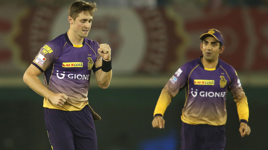 Chris Woakes rejoices after bowling Shaun Marsh