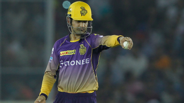 Gautam Gambhir directs an adjustment on the field