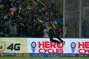 Manish Pandey is airborne while trying to snaffle a catch, Kings XI Punjab v Kolkata Knight Riders, IPL 2017, Mohali, May 9, 2017
