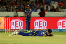 Harbhajan Singh fell awkwardly while trying to snaffle a return catch, Sunrisers Hyderabad v Mumbai Indians, IPL 2017, Hyderabad, May 8, 2017