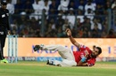 Ishant Sharma recovers from his fall after bowling a quick delivery, Mumbai Indians v Kings XI Punjab, IPL 2017, Mumbai, May 11, 2017