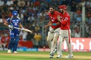 Glenn Maxwell and Ishant Sharma share a light moment after the fall of a Mumbai wicket, Mumbai Indians v Kings XI Punjab, IPL 2017, Mumbai, May 11, 2017