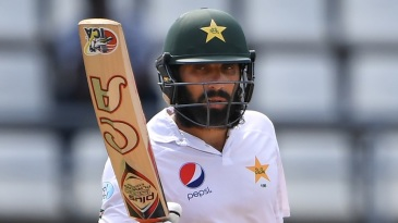 Misbah-ul-Haq celebrates a fifty in his final Test