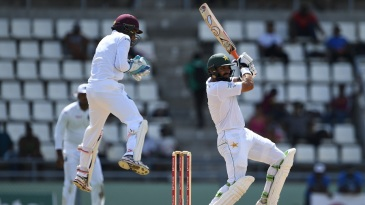 Misbah-ul-Haq carves one through the off side