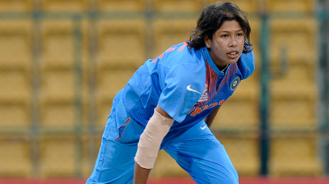 Jhulan Goswami in her follow through