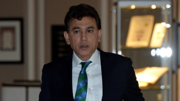 Faisal Hasnain arrives for an ICC board meeting
