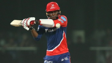Marlon Samuels is a picture of concentration as he shapes up to pull
