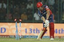 Pat Cummins was cleaned up by a searing yorker, Delhi Daredevils v Rising Pune Supergiant, IPL 2017, Delhi, May 12, 2017