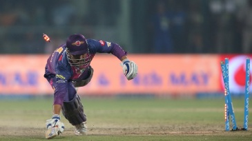 MS Dhoni is caught short of his crease