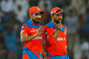 Suresh Raina and Ravindra Jadeja have a chat in the field, Gujarat Lions v Sunrisers Hyderabad, IPL 2017, Kanpur, May 13, 2017
