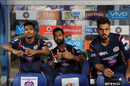 Hardik Pandya, Krunal Pandya and Nitish Rana wait in the dugout during the drizzle, Kolkata Knight Riders v Mumbai Indians, IPL 2017, Kolkata, May 13, 2017