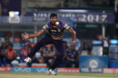Ankit Rajpoot tries to field off his own bowling, Kolkata Knight Riders v Mumbai Indians, IPL 2017, Kolkata, May 13, 2017