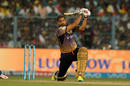 Yusuf Pathan gets down on one knee to smash a six over long-off, Kolkata Knight Riders v Mumbai Indians, IPL 2017, Kolkata, May 13, 2017