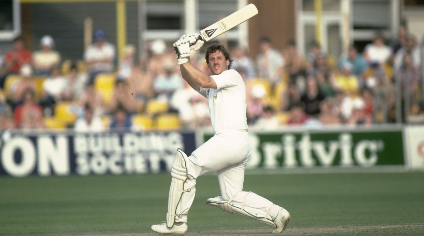 Ian Botham launches one into the leg side