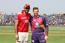 Glenn Maxwell and Steven Smith share a moment ahead of the start of play, Rising Pune Supergiant v Kings XI Punjab, IPL 2017, Pune, May 14, 2017