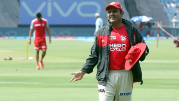 Kings XI Punjab's director of cricket operations, Virender Sehwag, reacts in the field