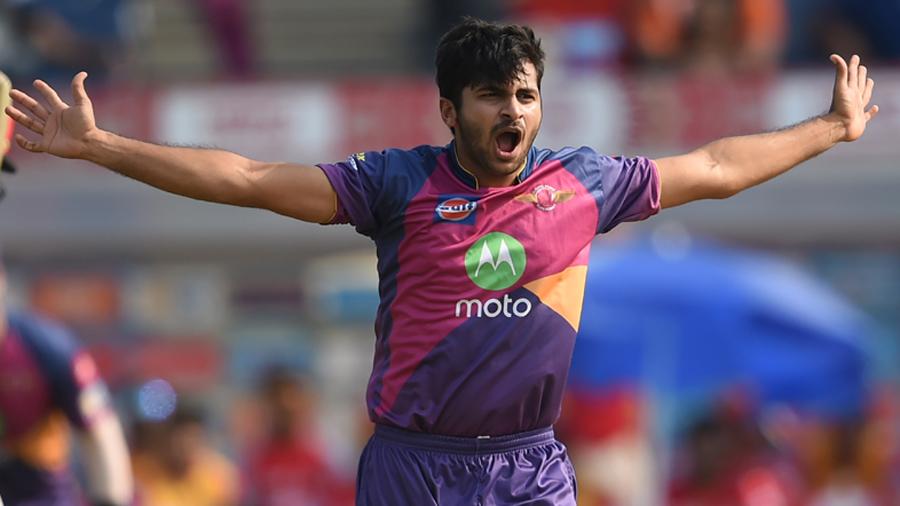 Shardul Thakur celebrates the wicket of Shaun Marsh
