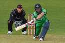 Andy Balbirnie goes for the sweep, Ireland v New Zealand, Tri-nations series, 2nd match, Malahide, May 14, 2017