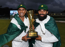 Younis Khan and Misbah-ul-Haq pose with the series trophy, West Indies v Pakistan, 3rd Test, Dominica, 5th day, May 14, 2017