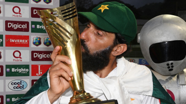 Misbah-ul-Haq kisses the series trophy