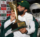 Misbah-ul-Haq kisses the series trophy, West Indies v Pakistan, 3rd Test, Dominica, 5th day, May 14, 2017