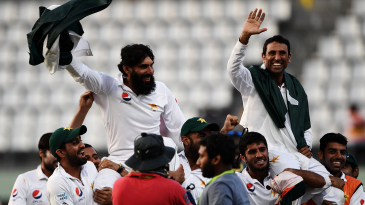 The Pakistan team carry Misbah-ul-Haq and Younis Khan on their shoulders during the victory lap