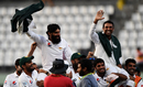 The Pakistan team carry Misbah-ul-Haq and Younis Khan on their shoulders during the victory lap, West Indies v Pakistan, 3rd Test, Dominica, 5th day, May 14, 2017