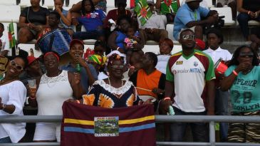 West Indies fans watch the final day's action