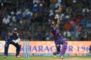 Manoj Tiwary holds his shot after lofting the ball for a six, Mumbai Indians v Rising Pune Supergiant, Qualifier 1, IPL, Mumbai, May 16, 2017