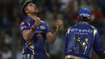 Karn Sharma exults after dismissing Ajinkya Rahane