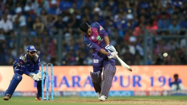MS Dhoni smacks the ball for a six