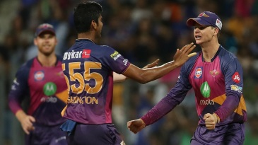 Steven Smith took two catches off Washington Sundar's bowling