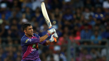 MS Dhoni watches one of his five sixes sail away
