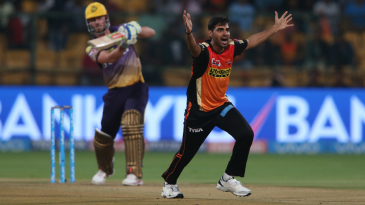 Bhuvneshwar Kumar successfully appeals for the wicket of Chris Lynn