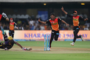 A quick pick-up and throw helped Bhuvneshwar Kumar run Yusuf Pathan out, Sunrisers Hyderabad v Kolkata Knight Riders, Eliminator, IPL 2017, Bangalore, May 17, 2017
