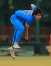 Mansi Joshi in her follow through, India Women v Pakistan Women, ICC Women's World Cup Qualifier, Colombo, February 19, 2017