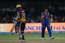 Karn Sharma sends Sunil Narine off with a flying kiss, Mumbai Indians v Kolkata Knight Riders, Qualifier 2, IPL 2017, Bengaluru, May 19, 2017