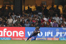 Lasith Malinga puts in a tumble at the last moment to hold on to a catch, Mumbai Indians v Kolkata Knight Riders, Qualifier 2, IPL 2017, Bengaluru, May 19, 2017