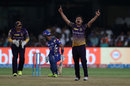 Piyush Chawla celebrates after dismissing Lendl Simmons, Mumbai Indians v Kolkata Knight Riders, Qualifier 2, IPL 2017, Bengaluru, May 19, 2017