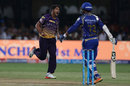 Umesh Yadav celebrates the dismissal of Parthiv Patel, Mumbai Indians v Kolkata Knight Riders, Qualifier 2, IPL 2017, Bengaluru, May 19, 2017