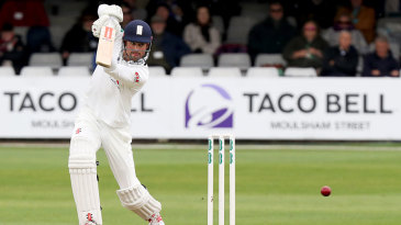 Alastair Cook drives during his century