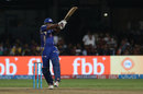 Kieron Pollard gets behind the line to play a hook, Mumbai Indians v Kolkata Knight Riders, Qualifier 2, IPL 2017, Bengaluru, May 19, 2017