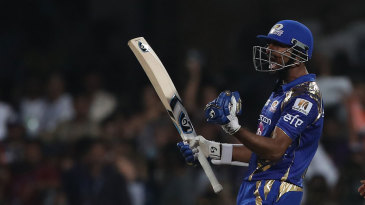 Krunal Pandya lets out a roar after hitting the winning runs