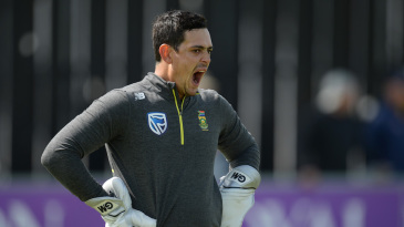 Quinton de Kock caught in the middle of a yawn