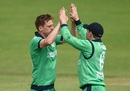 Craig Young celebrates a wicket, Ireland v New Zealand, Malahide, 5th ODI, May 21, 2017