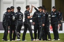 Matt Henry is mobbed by his team-mates, Ireland v New Zealand, Malahide, 5th ODI, May 21, 2017