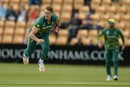 Dwaine Pretorius gets through his delivery stride, Northamptonshire v South Africans, Northampton, May 21, 2017