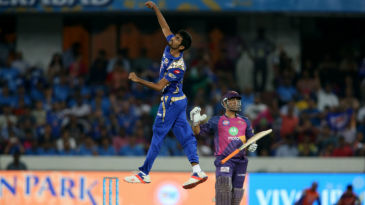 Jasprit Bumrah exults after having MS Dhoni caught behind