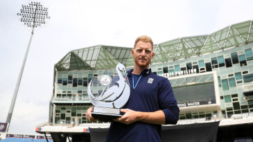 Ben Stokes poses with the trophy ahead of England's ODI series with South Africa